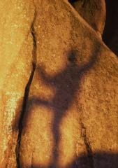 Matt Fry's Shadow on Non-Stick Vicar, Font 7b, Black Rocks