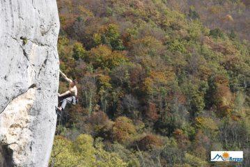 Enjoying the Autumn sunshine on Alkaline Direct (8a+), Baychon, Ariège