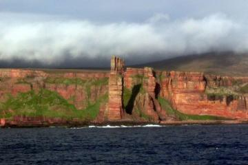 Old Man of Hoy in Scotland, climbed by Mike Liz & Rich.. Original (or East Face) Route 460 feet E1 5b