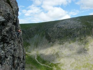'Enjoying' the exposure on the poorly protected 'off-route variation' to Pink Panther - Dow Crag