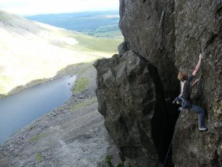 Luke on the starting sequence of 'The Shining Path' E5 6b*** - Dow Crag