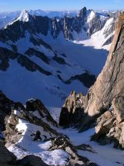 Final meters in the Oxford Couloir on the Aig. d'Argentiere