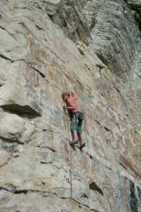 Rob Higginson about to clip on Double Or Quits (7a+), Dancing Ledge, Swanage