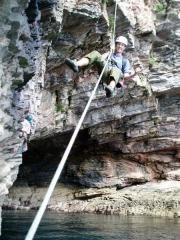 Absail to a belay