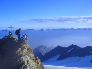 Summit of the Nadelhorn, looking north to the peaks of the Bernese Oberland