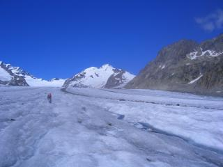 Walking up the Aletsch Glacier