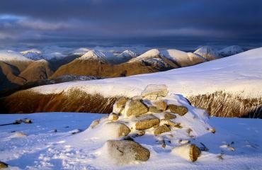 Alpenglow - north-east from Glas Bheinn Mor(Etive) at sunset