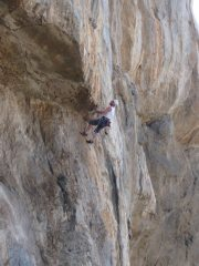 Dave Musgrove contemplates the F7b+ finish!