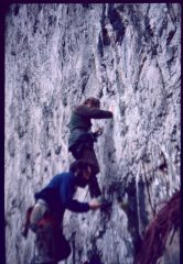 Jim Penny & Vic Grainger. Malham Cove, Artifical route. pioneering new single wire technique. circa 1970s