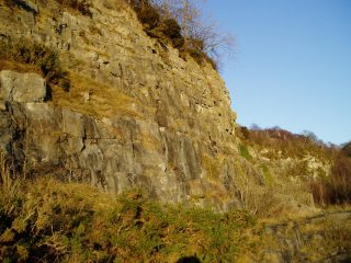 Right hand end of the first wall at Meathop Quarry.