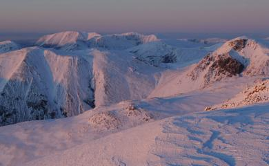 Last light on Great Gable and Kirk Fell from Scafell.