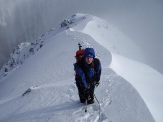 Fresh snow, Ledge route, April 2008.