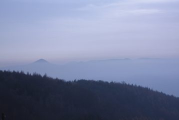 Milesovka in the Ceske Stredohori mountains in the Czech Republic over an inversion.