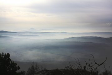 From the summit of Boren in the Ceske Stredohori range in the Czech Republic. A typical morning inversion slowly clearing.