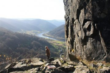 Climbing at Vrabinec in the Czech Republic. The Labe is in the background.