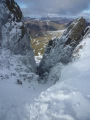 Looking down the top of Deep Ghyll, Scafell Crag