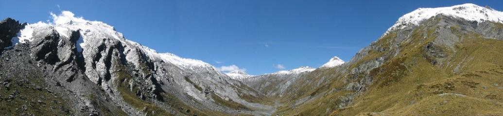View from the Rees Saddle.  Aspiring National Park New Zealand.