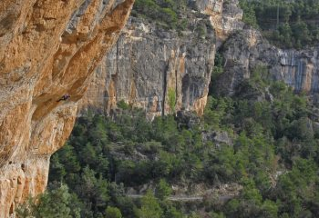 a long way still to go...on 'Kalea Borroka' (F8b+), El Pati sector, Siurana