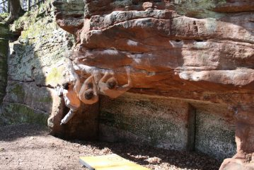 Dave on Lip Traverse at Sam's Hidden Crag, V4 6a