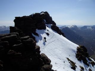 An Teallach.A wee snow traverse to avoid an awkward rocky down climb.