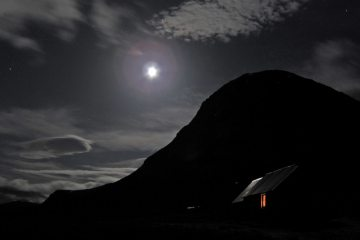 The Devil's Point and Corrour at midnight.