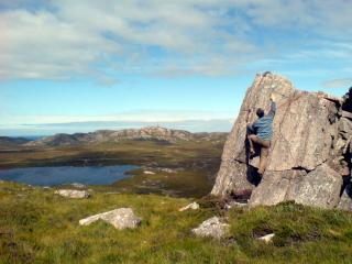 Bouldering at Loch Tollaidh.