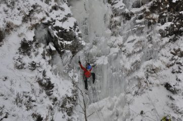 South Wales ice, Andrew cruising up his first winter route of the season