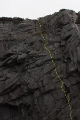 Shortly after doing route for first time. Fingers in the nice starting shothole. This is just left of seamstress slab.