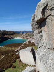 Looking across the granite to the sea below.