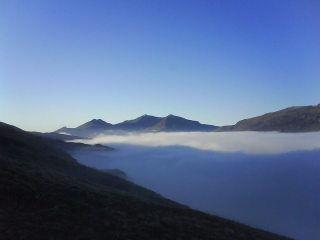 snowdon horseshoe in a cloud inversion