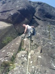 Nice warm day on Falling Block Crack, Upper Tier, Craig Pant Ifan. One of my first leads of 2010.