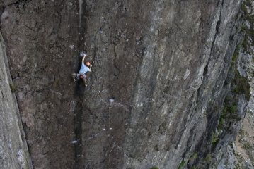Jimmy 'Big Guns' McCormack on the classic bold wall climb of Lord of the Flies E6 6a.