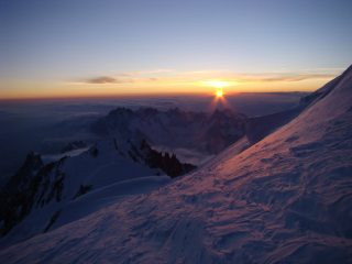 first light on mont blanc
