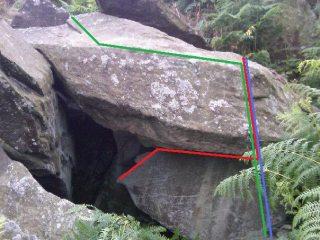 Clints cave area,  Blue line = Clints cave Red line = clints cave extension Green line = Clints dirty lip