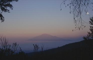 Mount Meru at sunset from the Machame route on Kilimanjaro