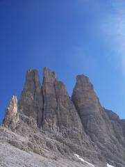 View of the Vajolet Towers from the excellent Rifugio Re Alberto/Gartlhutte