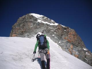 Hohlaubgrat, summit rock step