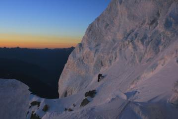 John entering the serac band on the Brenva Spur, at sunrise on a perfect day on Mont Blanc.