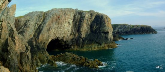 High, committed and enjoying one of the best deep water solos in the UK