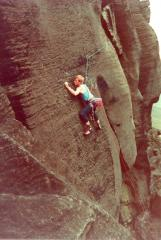 Mike Chapman on an early ascent of Desecration E3 6a