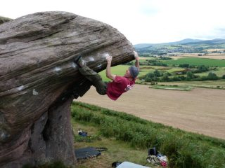 And now mantle....Dave on the 2nd ascent of Bepanthen Battle