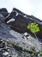 David at the belay ledge after the first pitch of Hesitation (HVS 5a), Aonach Dubh, East Face