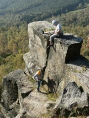 Kevin Gibbs and Magda Bichajou on Giant's Staircase on a glorious autumn day