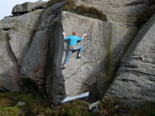 Duergar 7a+ @ Ravensheugh, Northumberland. Awesome problem, a wee bit highball and the top out is the crux!