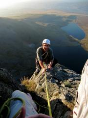 Topping out on the second to last pitch on Outside Edge, Craig Cwm Silyn