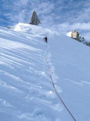 Max Cole leading the final snow ridge to the summit of Mont Maudit via Frontier Ridge (Arête Küffner).