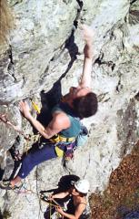 Jimbo beginning up Marjorie Razorblade (before the real fun starts!) on the upper cave crags in Dunkeld