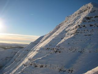 North East face of Pen-y-Fan, showing (part of) Near Right Gully and Right Hand Rib.