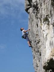 John Hunt on the first ascent of Harlot F7a+.