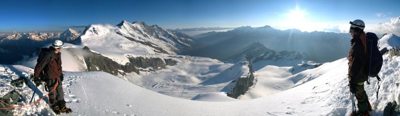 Panorama from the top of Allalinhorn, Switzerland.